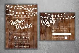 Rustic Country Wedding Invitations Set Printed