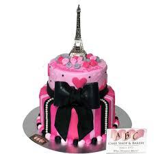 2126 2 Tier Pink & Black Congratulations Paris Cake ABC Cake Shop & Bakery