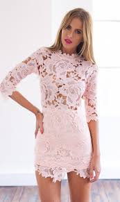 light pink 3 4 sleeve high neckline lace bodycon dress bodycon