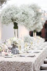 White Baby Breath Winter Wedding Centerpieces