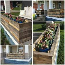 White Outdoor Table Recessed Box Diy Ana Pallet Bench With Planter