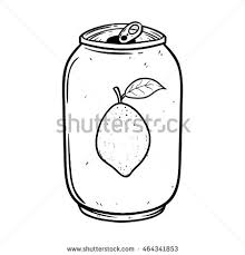 Soda can or lemon soft drink using doodle art on white background