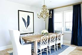 Navy And White Drapes Transitional Dining Room Balboa Blue Curtains