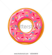 donut with pink glaze donut icon vector illustration
