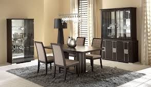 Awesome Gray Area Rug Design Feat Modern Dining Set With Leather Chairs Plus Mirrored Cabinet Door
