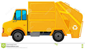 Rubbish Truck In Yellow Color Stock Illustration - Illustration Of ...