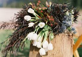 Rustic Tulip Wedding Flower Arrangement