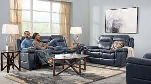 lr rm milano blue stat ls Milano Blue 3 Pc Leather Living Room with Reclining Sofa