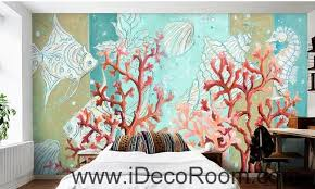 Aesthetic Dreams Blue Underground World Coral Tropical Fish Oil Painting Effect Wall Art Decor Mural