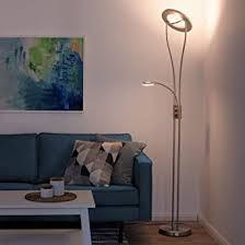 leuchtendirekt dimmbare led stehle mit lesele led deckenfluter aus edelstahl mit verstellbarem lesearm moderne stehleuchte warmweiss für