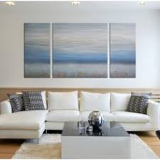 Hand Painted Abstract Ocean 3 Piece Gallery Wrapped Canvas Art Set