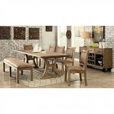 Gianna Transitional Style Rustic Pine Finish Dining Table Set