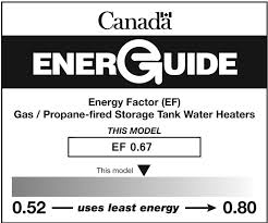 EnerGuide Label For Gas Or Propane Storage Tank Water Heaters Energy Star Logo