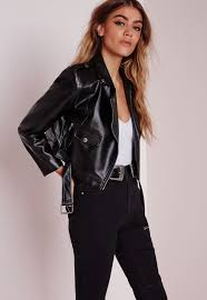 missguided petite faux leather biker jacket black in black lyst