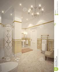 innenarchitektur des klassischen badezimmers mit gold und