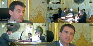 manuel valls ouvre bureau à itélé et parle du bureau de léon