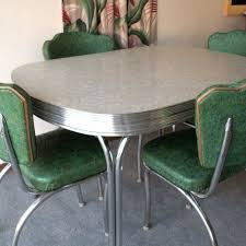 Vintage Gray Formica And Chrome Table With Four Chairs Kitchen Dinette