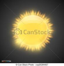 Realistic Gold Sun On Dark Background