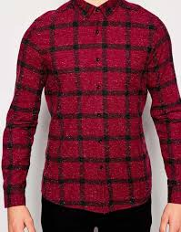 men u0027s long sleeve slim fitted casual plaid shirts mens red check
