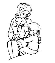 Nurse Comforting A Little Girl Coloring Page