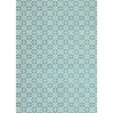 Ruggable Washable Floral Tiles Aqua Blue 5 ft x 7 ft Stain