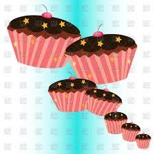 Cartoon chocolate cupcakes with stars Royalty Free Vector Clip Art