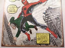 Vintage Superhero Wall Decor by Signs Amazing Spiderman Marvel Comics Superhero Metal Tin Sign