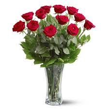 e Dozen Red Roses Vase T311R Florist Delivery in Chicago and