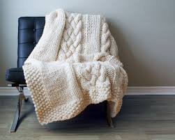 Cable Knit Throw Pottery Barn by Diy Knitting Pattern Throw Blanket Rug Super Chunky Double