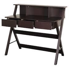 folio three drawer desk with low profile hutch modern wenge