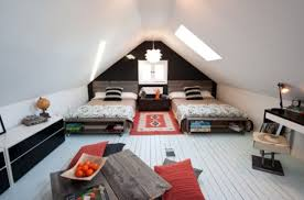 Teenage Boys Bedroom With Bright Orange Accent Details View