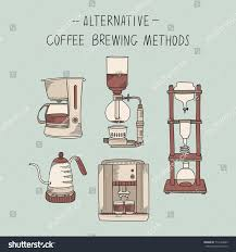 Alternative Coffee Brewing Methods Illustration Set Collection Of Vector Percolators Machines And Kettles In