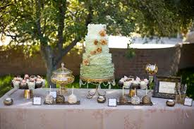 Incredible Copper Moss Gold Wedding Dessert Table