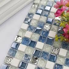 square blue mixed white glass mosaic tiles mixed and metal