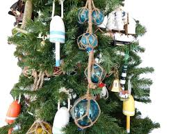 Light Blue Glass And Rope Floats Christmas Tree Ornament