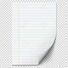 White Blank Paper Sheet With Lines Realistic Folded Page Throughout Transparent Background