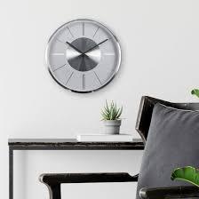 moderne wanduhr aluminium silber rund ø32 cm