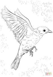 Click The Blue Bird Flying Coloring Pages