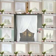 details zu gardine scheibengardine weiß voile spitze wohnzimmer kräuselband landhaus set