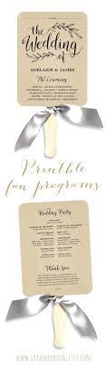 Rustic Wedding Program Template Printable Fan Fans Editable Text Templates