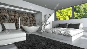 modernes luxus wohn schlafzimmer mit frischem weißem dekor und doppelschlafcouch sofa und freistehender ovaler badewanne in bootsform mit blick