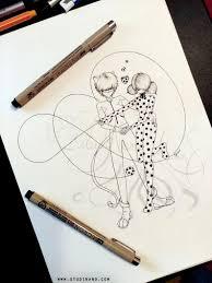Coloriage Ladybug Et Chat Noir Line Art Illustration Etsy