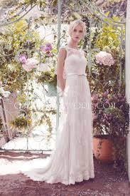 Illusion Cap Sleeve Vintage Slim A Line Lace Wedding Dress Ribbon Belt