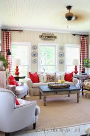 Southern Living Family Rooms by Savvy Southern Style Sun Room Grain Sack Pillows Red Buffalo