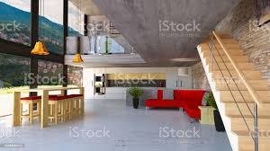 wohnzimmer und küche mit großen fenstern auf zwei etagen luxuswohnung mit blick auf das wohn und esszimmer moderner stil stockfoto und mehr bilder