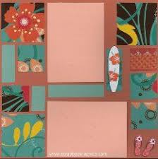 Bermuda Scrapbook Layout Using Color Blocking With Printed Paper Title Die Cut And Stacked Embellishments
