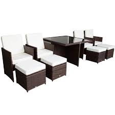 Outsunny 9 Piece PE Rattan Wicker Outdoor Nesting Patio Dining