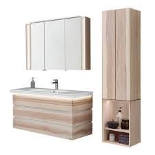 thielemeyer fresh badmöbel set in strukturesche massiv mit weißen absetzungen mit unterschrank waschtischplatte spiegelschrank hängeschrank