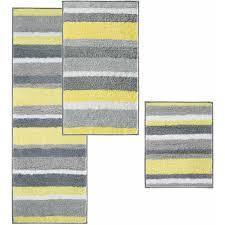 Gray Yellow And White Bathroom Accessories by Interdesign Microfiber Stripz Bath Rug 60 X 21 Walmart Com