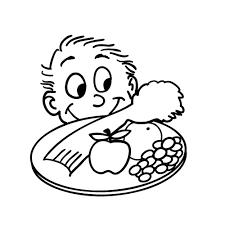 Copyright free cartoon drawing of kid looking at healthy food